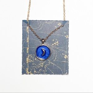 Dark Blue Hand Painted Gold Moon Necklace